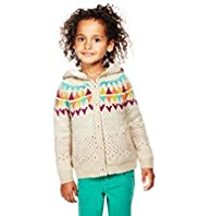 Hooded Fair Isle Borg-Lined Cardigan