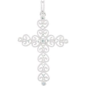 Genuine IceCarats Designer Jewelry Gift 14K White Gold Diamond Cross Pendant