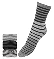 3 Pairs of Freshfeet™ Varied Striped Socks with Silver Technology
