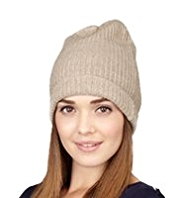 M&S Collection Pure Cashmere Ribbed Beanie Hat