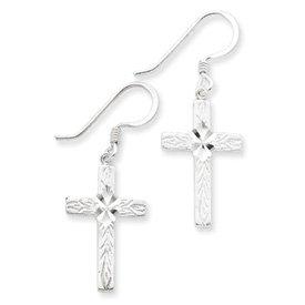 Sterling Silver Diamond Cut Cross Shepherd Hook Earrings