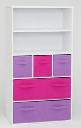 4D Concepts Girl'S Storage Bookcase, White front-1001216