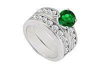 Emerald Diamond Engagement Ring with Wedding Band Sets 14K White Gold 1.00 CT TGW