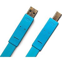 1.2M Flat Cable USB Ab M/m Blue Easy Coil & Carry 24 Labels