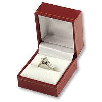 Classic Design Red Leatherette Ring Gift Box