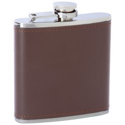 Maxam 6oz Stainless Steel Flask With Brown Genuine Leather Wrap