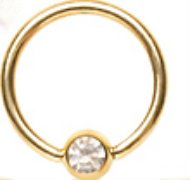 Clear Crystal Gold Plated Captive Bead Ring CBR