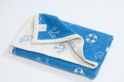 Hippy Chick Blue Marina Baby Blanket (Pram size: 75cm x 100cm)