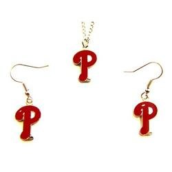 Philadelphia Phillies Necklace and Dangle Earring Charm Set MLB