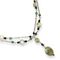 Sterling Silver Prehnite/Aventurine/Quartz/Green Crystal Necklace - 16 Inch