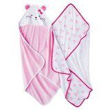 Carter's Just One You Baby Girls 2 Pack Mouse Bath Towel Set Pink