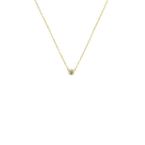 apop nyc 18k Yellow Gold Vermeil Mini Solitaire CZ Necklace