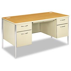 ** Mentor Series Double Pedestal Desk, 60w x 30d x 29-1/2h, Harvest/Putty