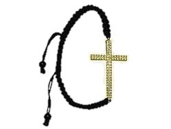 Yellow Crystal Cross Black Shamballa Macrame Bracelet Women's Men's Jewelry