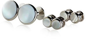 Mother of Pearl and Rhodium Silver Cufflinks and Studs
