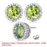 0.01 Ct Diamond & 0.53 Cts Peridot Earrings in