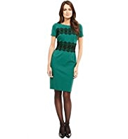 M&S Collection Drop a Dress Size Floral Lace Trim Ponte Shift Dress with Secret Support™