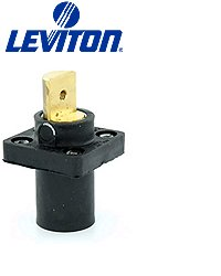 Leviton 16R19-G 600-Volts, Single Pole, Male, Panel Mount Receptacle Tape, Continuous, Cable Range, Green