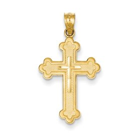Genuine IceCarats Designer Jewelry Gift 14K Budded Cross Pendant
