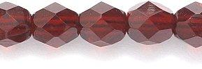 Preciosa Czech Fire 6 mm Faceted Round Polished Glass Bead, Transparent Dark Garnet, 200-Pack