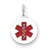 Weißgold 14 ct Emaille Medical Jewelry Damen-Halskette mit Anhänger, Kreisform kaufen