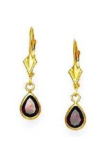 14ct Yellow Gold 7x5 mm Pear Dark-Red CZ Drop Earrings