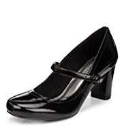 M&S Collection Leather Patent Finish Dolly Court Shoes