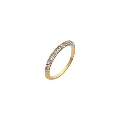 Ladies 18K Gold Plated Clear Cubic Zirconia Half Eternity Wedding Ring