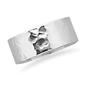 Sterling Silver 8mm Hammered Band Ring / Size 13