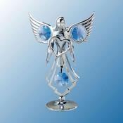 Chrome Plated Angel W/ Heart Free Standing - Blue - Swarovski Crystal - 1