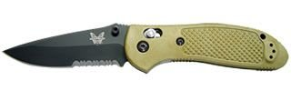 Benchmade Pardue Design Axis Mini-Griptilian Hollowground Modified Sheepsfoot With Ambidexterous Thumb Holes And Bk1 Coating (Sand-Colored Handle)