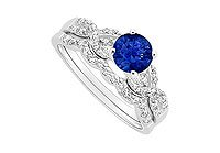 Sapphire and Diamond Engagement Ring with Wedding Band Set 14K White Gold - 0.90 CT TGW
