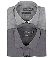 2 Pack 2in Longer Easy Care Plain & Gingham Shirts