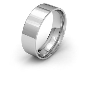 9ct White Gold, 7mm Wide, Flat Court Shape Wedding Ring
