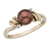 10K Yellow Gold, Chocolate Pearl and Diamond Ring