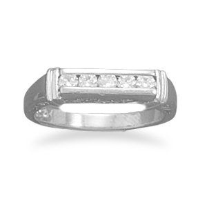 Sterling Silver Rhodium Plated 5 CZ Bar/Design Side Ring / Size 7