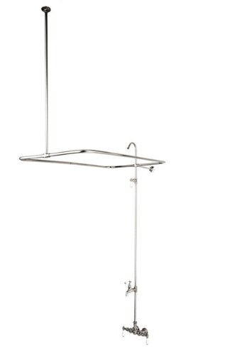 Kingston Brass CC63T Vintage Leg Tub Filler and Shower deck mount chrome widespread 5 holes longer waterfall bathtub faucet with handheld bath shower tub filler