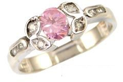 14k White Gold, Classic Design Dainty Ring with Lab Created Oval Shape Pink Colored Stone