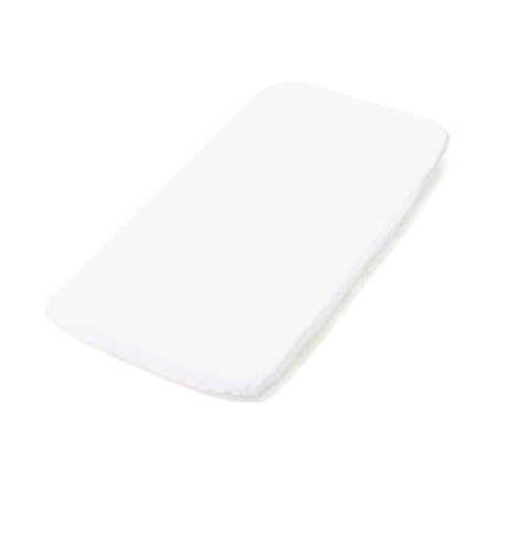 Baby Boum 40 x 90cm 100% Cotton Anti-Bacterial and Fully Waterproof and Fitted Crib Mattress Protector (White)