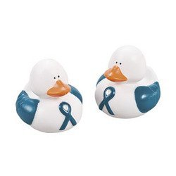 1 Teal Awareness Ribbon Rubber Duck front-819102
