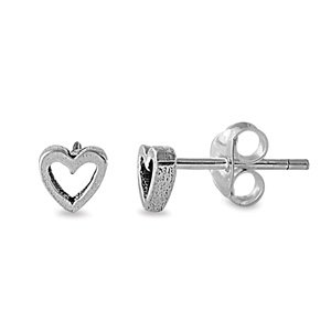 Sterling Silver Hollow Heart Stud Earrings - 4mm