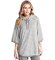 Cotton Rich Hooded Striped Poncho
