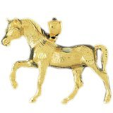 CleverEve 14K Yellow Gold Walking Horse Pendant 9.3 Grams