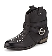 Stud Embellished Ankle High Boots