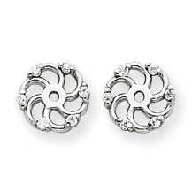 14k White Gold Brilliant Diamond earring jacket. Inside Diameter- 4mm