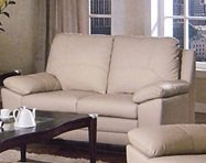 Genuine Leather Top Love Seat in Ivory Finish