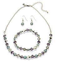 M&S Collection Multi-Faceted Bead Necklace, Bracelet & Earrings Set