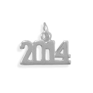 Polished Sterling Silver 2014 Charm 11mm X 14mm - JewelryWeb