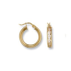 9ct Yellow Gold 17mm Channel Set Cz Round Hoops Earrings