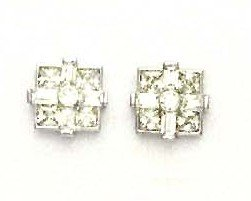 14ct White Gold Princess Round and Baguette CZ Fancy Earrings